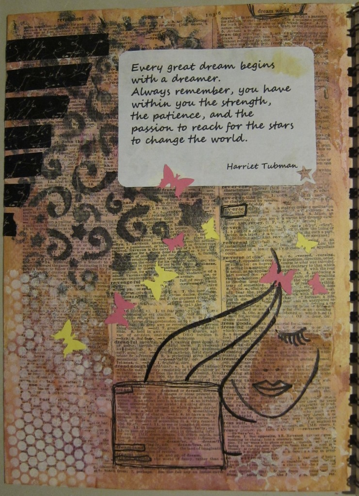 """""""Dreamer"""" Created using inks, acrylic paint, washi tape and punchouts on watercolor paper.  Created 4/1/2013."""