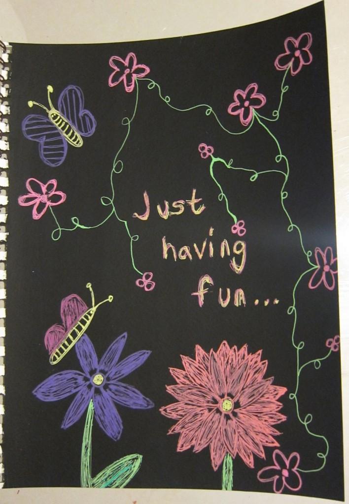 """Just Having Fun"" Created using black gesso and Sakura Moonlight pens. Created 3/28/2013"