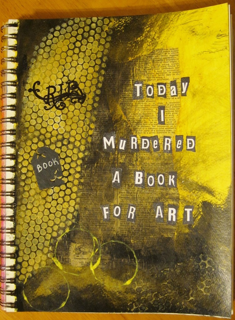 """""""Murdered Book"""" Created using torn page from book, acrylic paint, sharpies and ink on watercolor paper. Created 3/14/2013"""