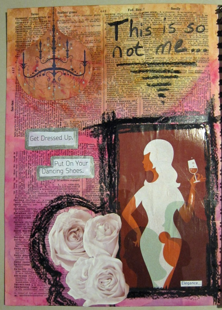 """""""This is so Not Me"""" Created using ink, sharpies, oil pastels, magazine clippings and dictionary pages. Created 3/29/2013"""