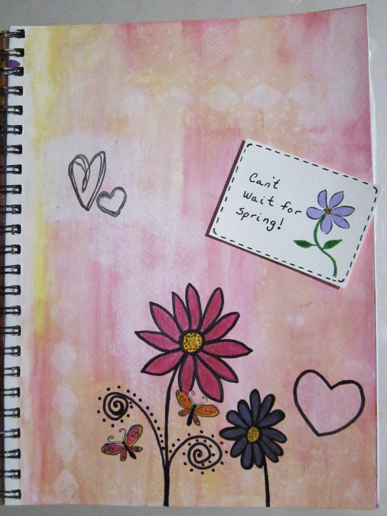 """Can't Wait for Spring"" Created using ink pads, Sakura Pigma Micron pens, Sakura 3D Glaze pens, Sakura Souffle pens on watercolor paper. Created 3/18/2013"