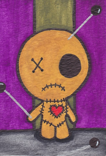 Voodoo Doll Created on 9/29/2013 Created using watercolors, Sakura Identi-Pens, sharpies and white gel pen on watercolor paper.  Created for the Chibis, Chibis Everywhere Swap
