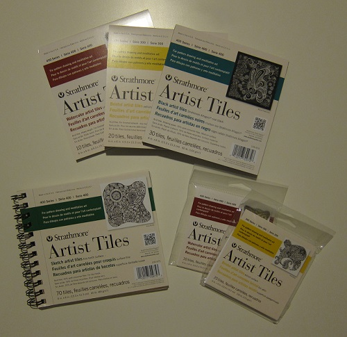 Several different artist tiles in watercolor paper and vellum.