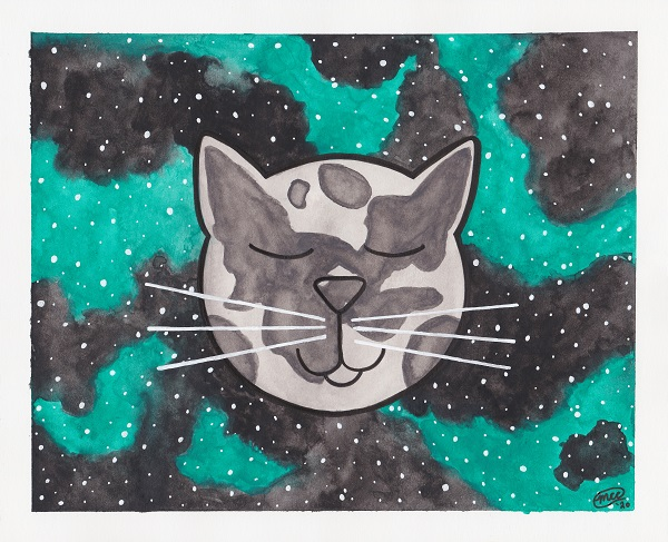 Cat Moon Watercolor Painting